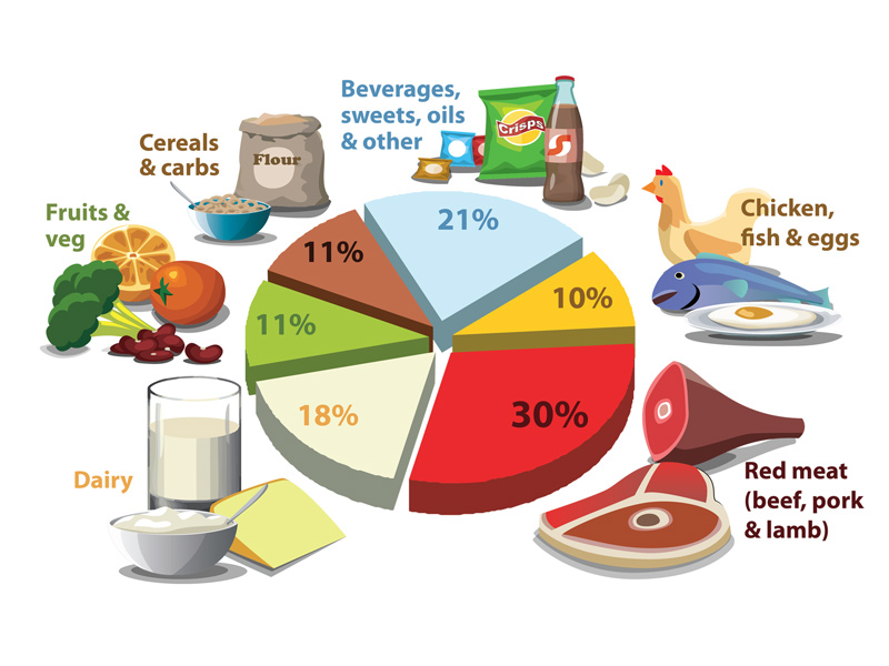 Greenhouse gas emissions from the U.S. food supply chain.   Image Source: Brent Kim, Johns Hopkins Center for a Livable Future